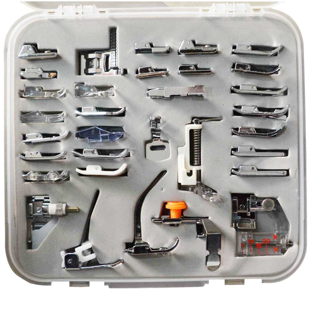 Janome etc. 32 Domestic Sewing Machine Presser Foot Set w// Box for Brother